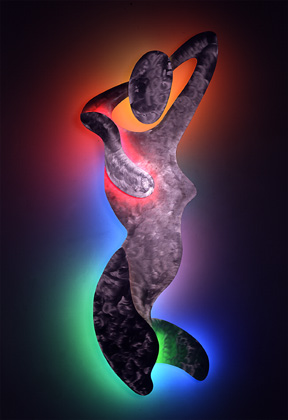 Woman I, featured in this virtual neon art gallery, displaying the neon sculpture and neon art installations, including modern and contemporary art work as well as a line of neon clocks and wall sconces