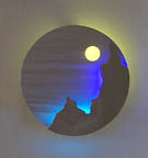 DiscScape I, a neon art sculpture wall sconce
